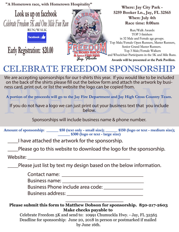 Celebrate Freedom 5K Sponsorship Form